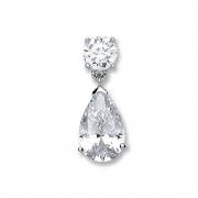 Sterling Silver Cubic Zirconia Pear Shaped Pendant 3.8g